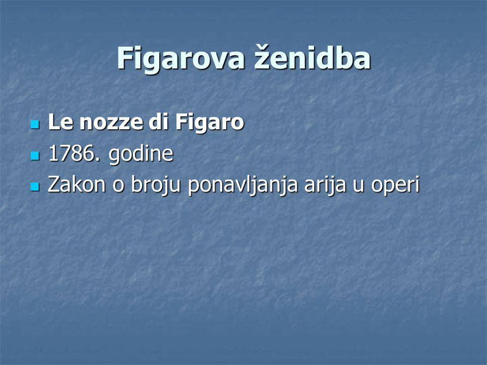 Figarova ženidba Le nozze di Figaro Le nozze di Figaro 1786. godine 1786. godine Zakon o broju ponavljanja arija u operi Zakon o broju ponavljanja ari