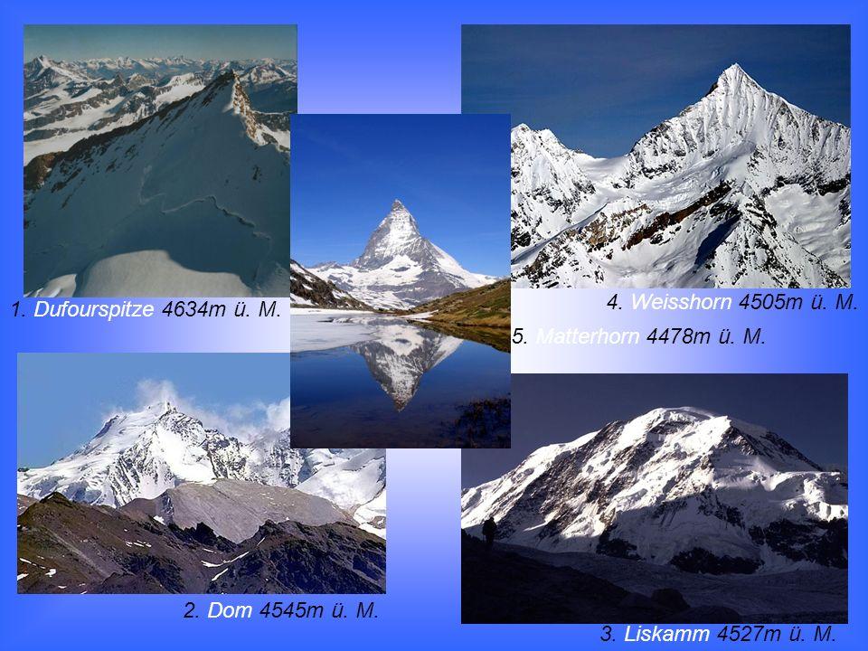 1. Dufourspitze 4634m ü. M. 5. Matterhorn 4478m ü. M. 4. Weisshorn 4505m ü. M. 3. Liskamm 4527m ü. M. 2. Dom 4545m ü. M.