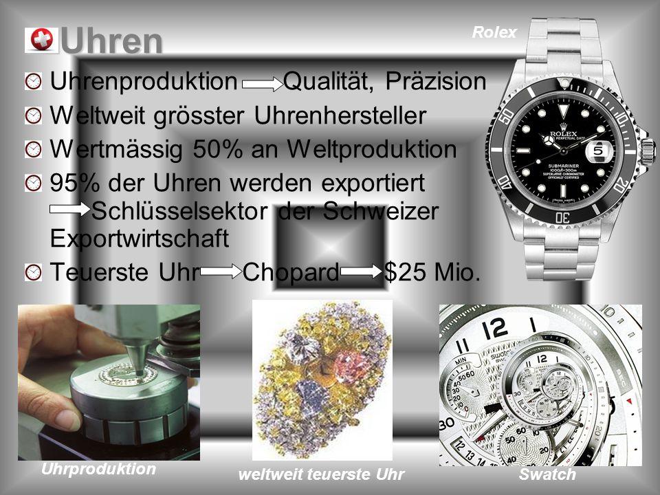 Uhren Uhrenproduktion Qualität, Präzision Weltweit grösster Uhrenhersteller Wertmässig 50% an Weltproduktion 95% der Uhren werden exportiert Schlüssel