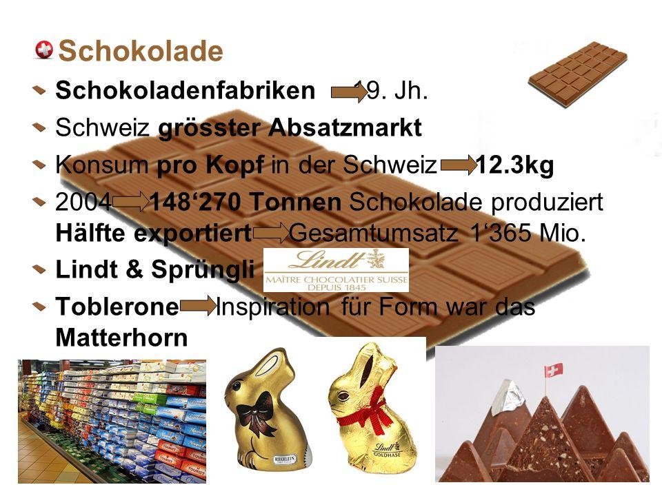 Schokolade Schokoladenfabriken 19. Jh. Schweiz grösster Absatzmarkt Konsum pro Kopf in der Schweiz 12.3kg 2004 148270 Tonnen Schokolade produziert Häl