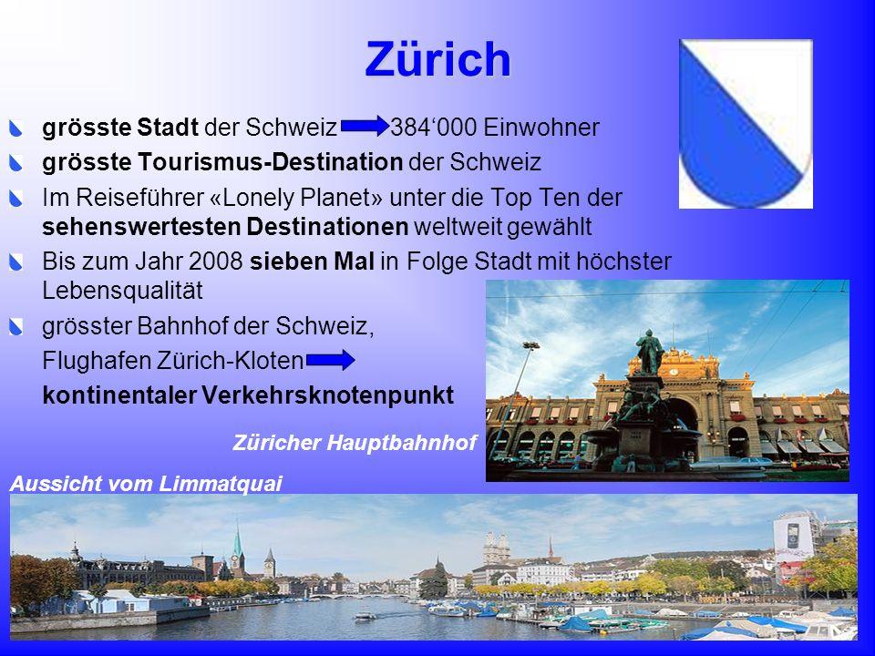 Zürich grösste Stadt der Schweiz 384000 Einwohner grösste Tourismus-Destination der Schweiz Im Reiseführer «Lonely Planet» unter die Top Ten der sehen