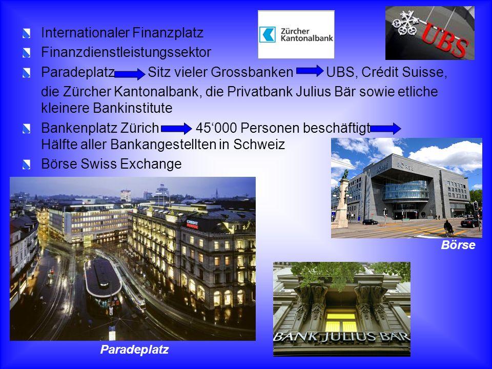 Internationaler Finanzplatz Finanzdienstleistungssektor Paradeplatz Sitz vieler Grossbanken UBS, Crédit Suisse, die Zürcher Kantonalbank, die Privatba