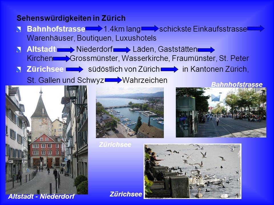 Sehenswürdigkeiten in Zürich Bahnhofstrasse 1.4km lang schickste Einkaufsstrasse Warenhäuser, Boutiquen, Luxushotels Altstadt Niederdorf Läden, Gastst