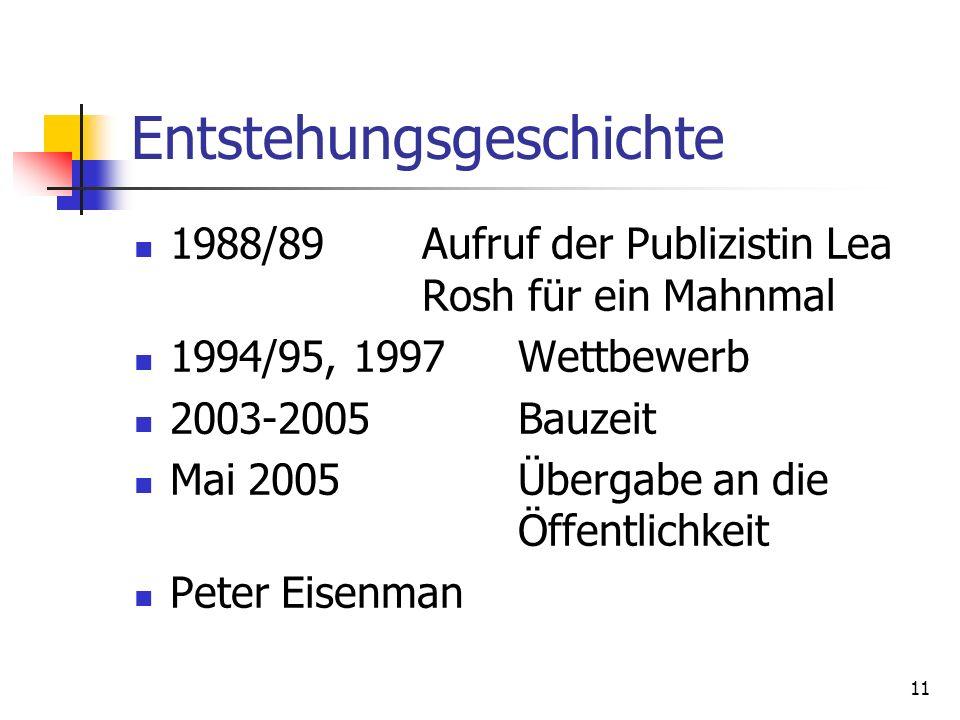 11 Entstehungsgeschichte 1988/89Aufruf der Publizistin Lea Rosh für ein Mahnmal 1994/95, 1997Wettbewerb 2003-2005Bauzeit Mai 2005Übergabe an die Öffen