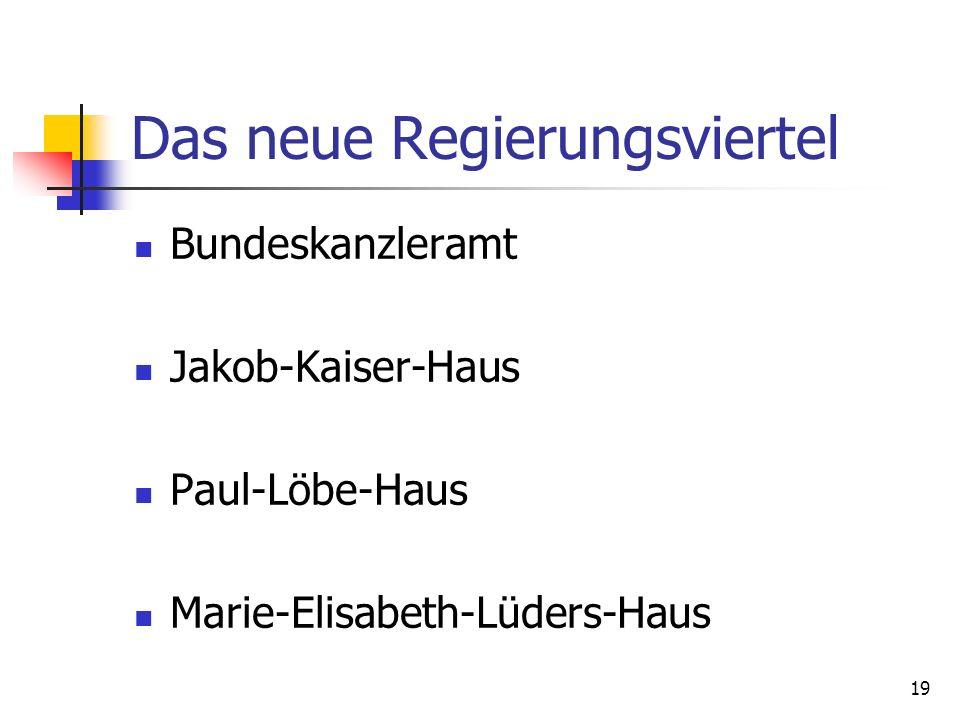 19 Das neue Regierungsviertel Bundeskanzleramt Jakob-Kaiser-Haus Paul-Löbe-Haus Marie-Elisabeth-Lüders-Haus
