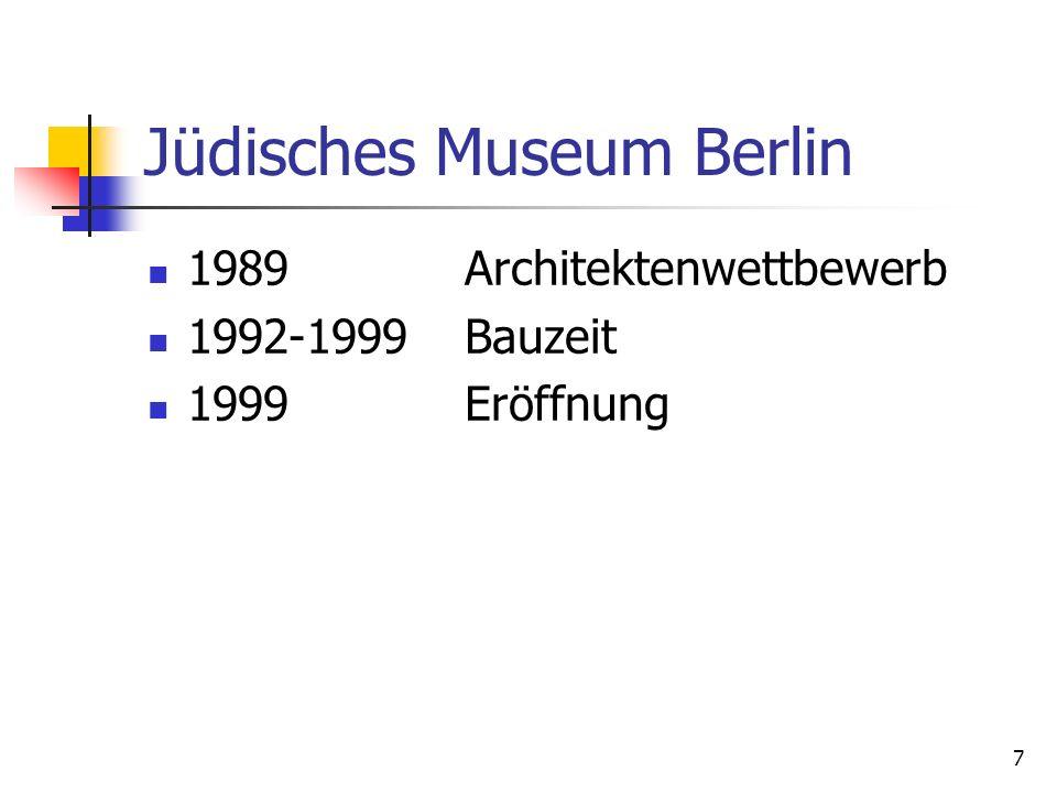 7 Jüdisches Museum Berlin 1989 Architektenwettbewerb 1992-1999Bauzeit 1999Eröffnung