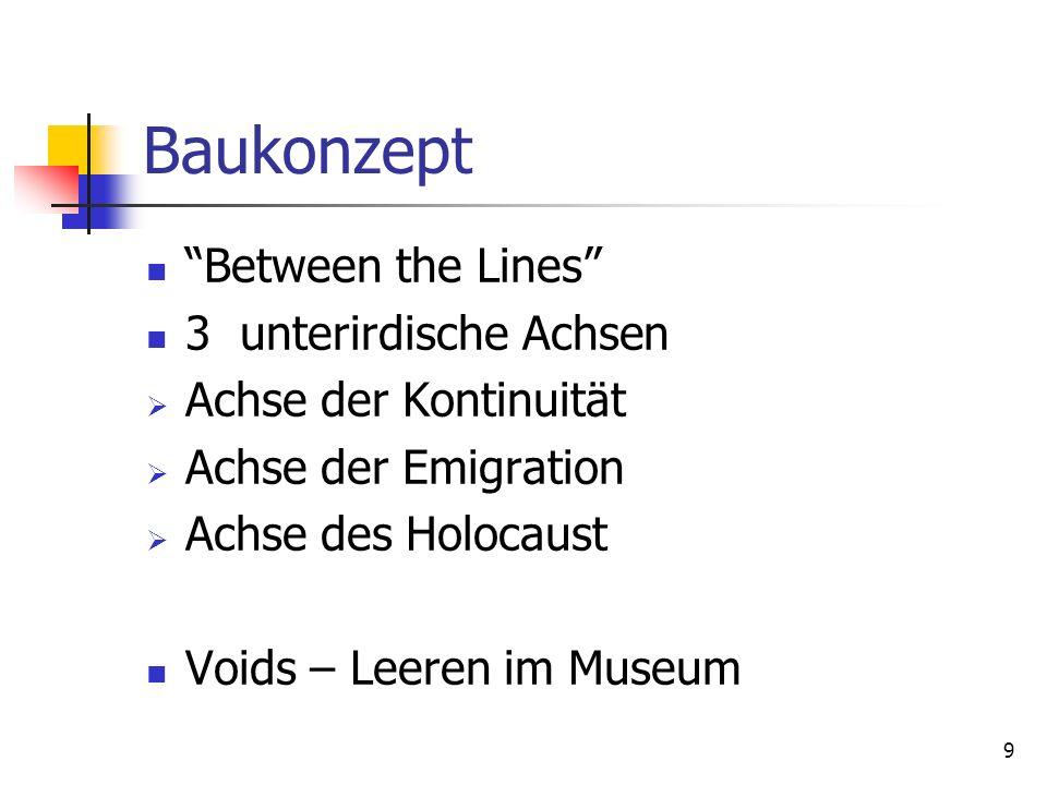 9 Baukonzept Between the Lines 3 unterirdische Achsen Achse der Kontinuität Achse der Emigration Achse des Holocaust Voids – Leeren im Museum