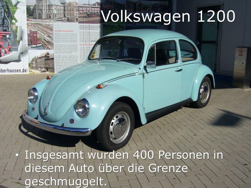 Volkswagen 1200 Insgesamt wurden 400 Personen in diesem Auto über die Grenze geschmuggelt. Insgesamt wurden 400 Personen in diesem Auto über die Grenz