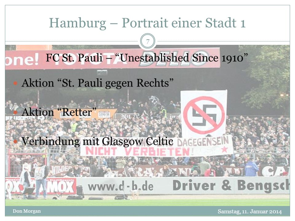 Hamburg – Portrait einer Stadt 1 Samstag, 11. Januar 2014 Don Morgan 7 FC St.