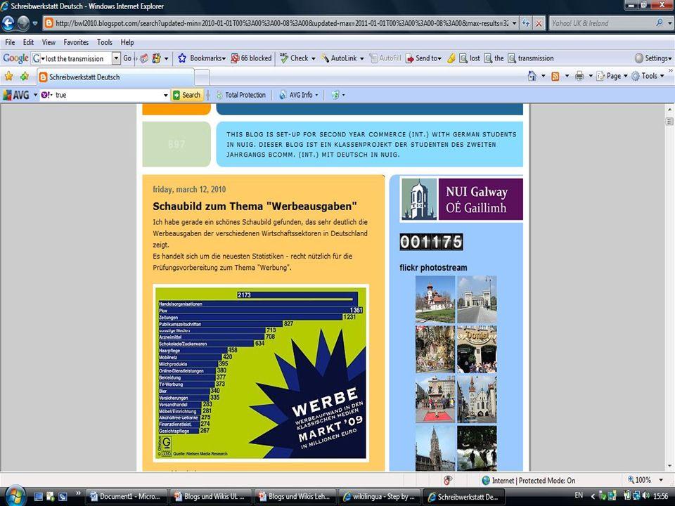 Projekt 2 Wiki-Projekt Das Auslandsjahr mit Final year Commerce/German Studenten http://galwayerasmus.pbworks.com Doris Devilly, German Department, NUIG 9