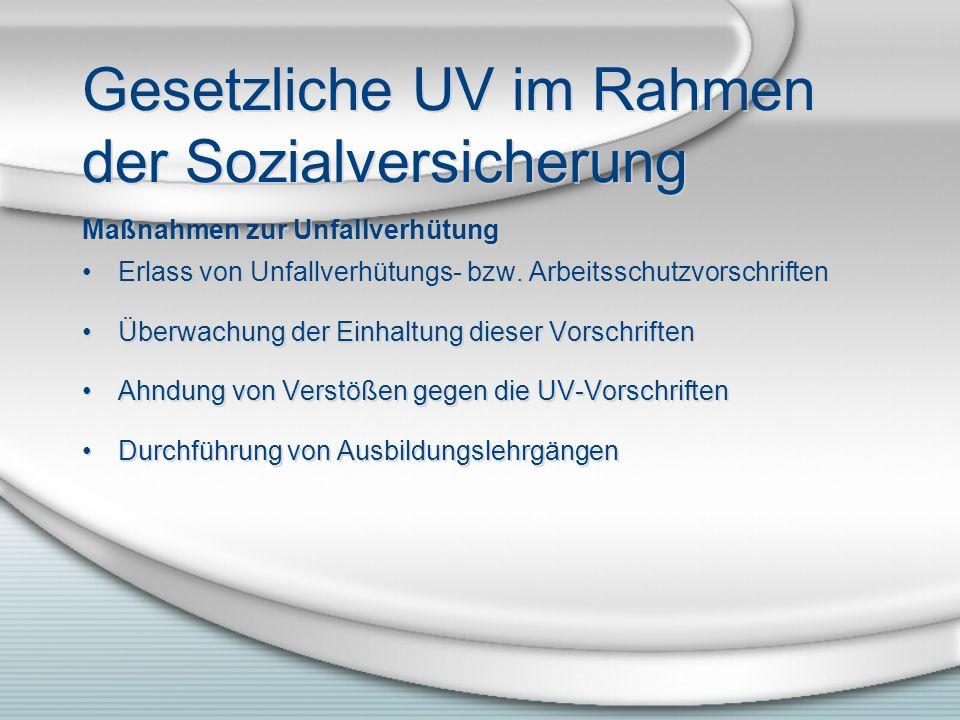 Gesetzliche UV im Rahmen der Sozialversicherung Maßnahmen zur Unfallverhütung Erlass von Unfallverhütungs- bzw.