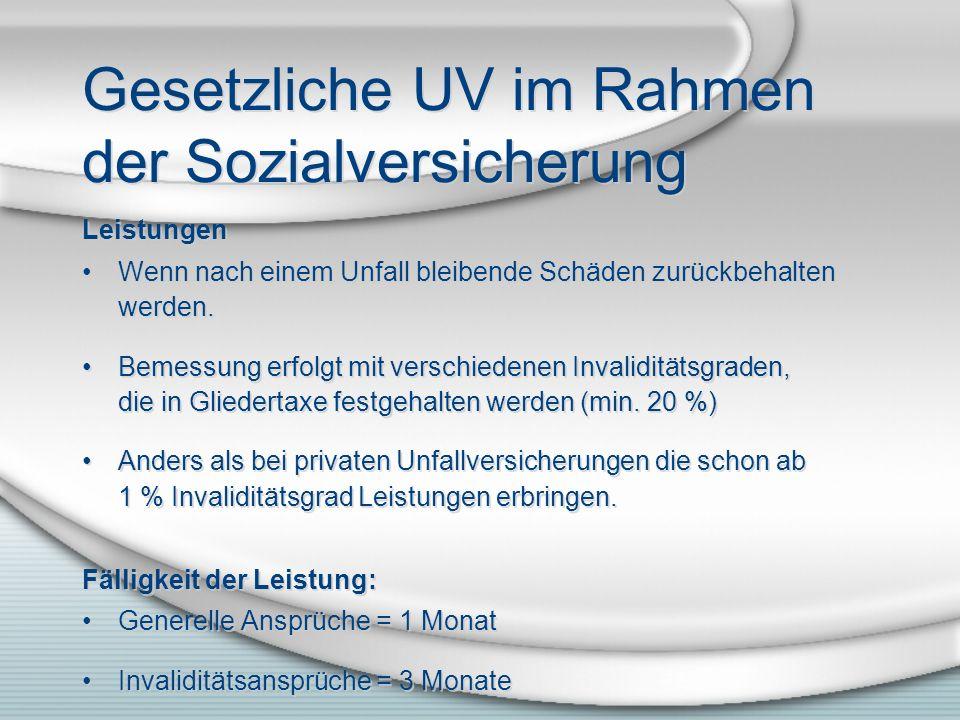 Gesetzliche UV im Rahmen der Sozialversicherung Leistungen Wenn nach einem Unfall bleibende Schäden zurückbehalten werden. Bemessung erfolgt mit versc