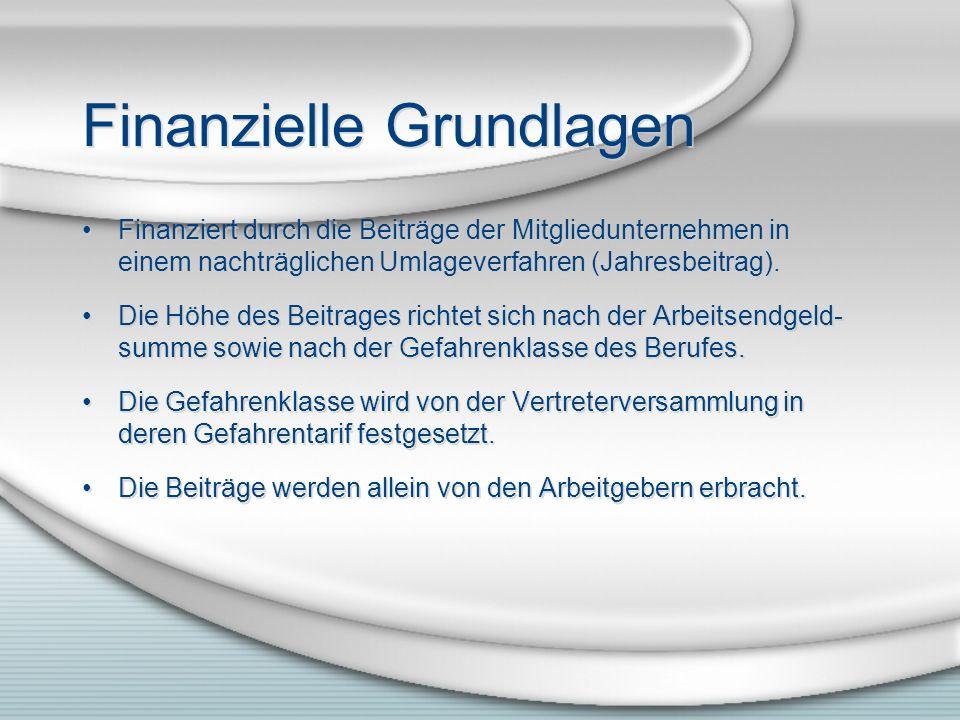 Finanzielle Grundlagen Finanziert durch die Beiträge der Mitgliedunternehmen in einem nachträglichen Umlageverfahren (Jahresbeitrag).