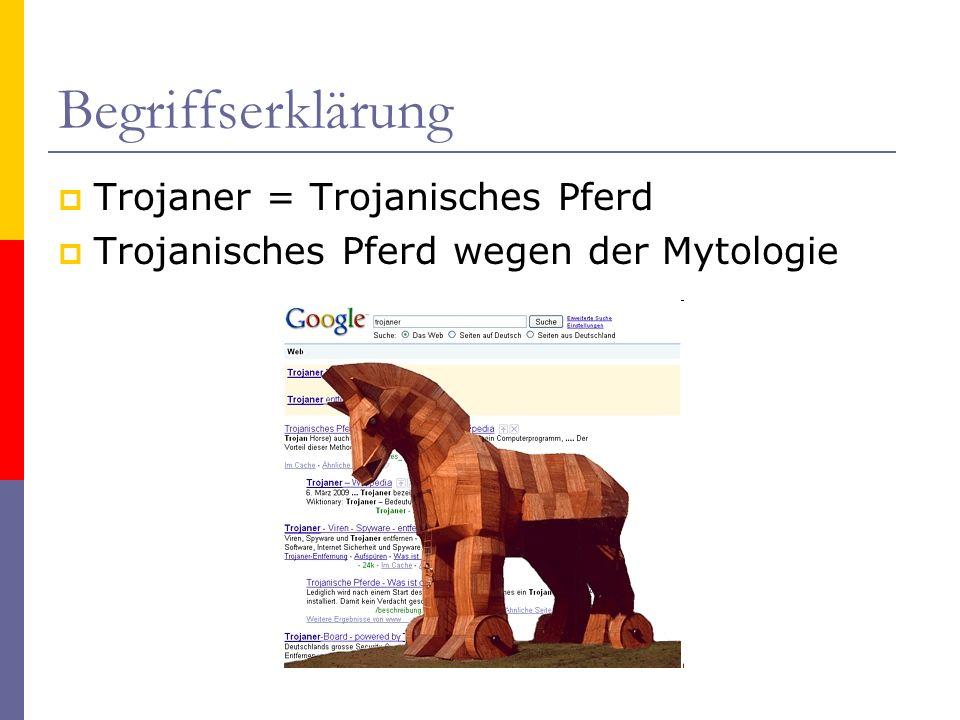 Begriffserklärung Trojaner = Trojanisches Pferd Trojanisches Pferd wegen der Mytologie