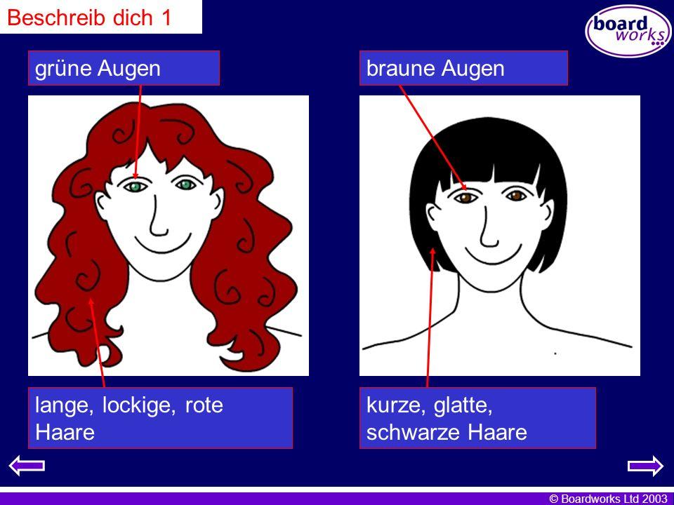 © Boardworks Ltd 2003 lange, lockige, rote Haare grüne Augen kurze, glatte, schwarze Haare braune Augen Beschreib dich 1