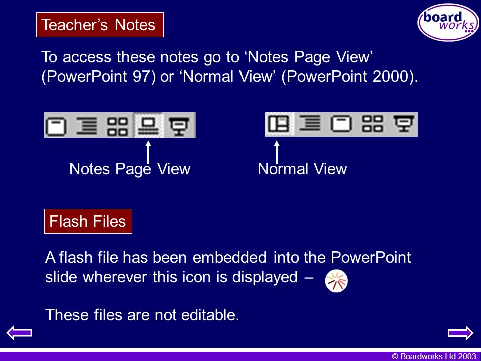 © Boardworks Ltd 2003 To access these notes go to Notes Page View (PowerPoint 97) or Normal View (PowerPoint 2000). Normal ViewNotes Page View Teacher
