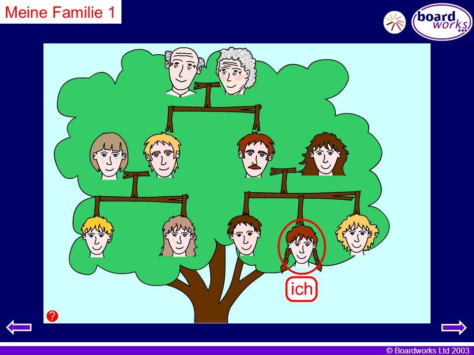© Boardworks Ltd 2003 Meine Familie 1