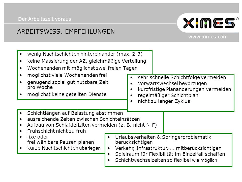 Der Arbeitszeit voraus www.ximes.com ARBEITSWISS. EMPFEHLUNGEN wenig Nachtschichten hintereinander (max. 2-3) keine Massierung der AZ, gleichmäßige Ve