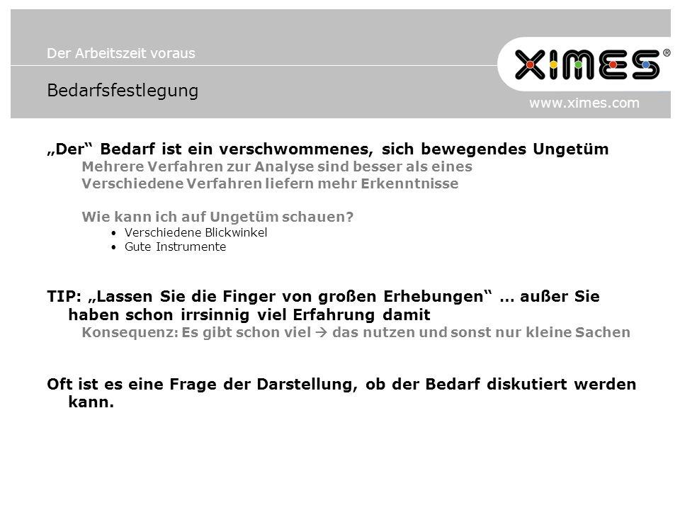 Der Arbeitszeit voraus www.ximes.com Bedarfsfestlegung Der Bedarf ist ein verschwommenes, sich bewegendes Ungetüm Mehrere Verfahren zur Analyse sind b