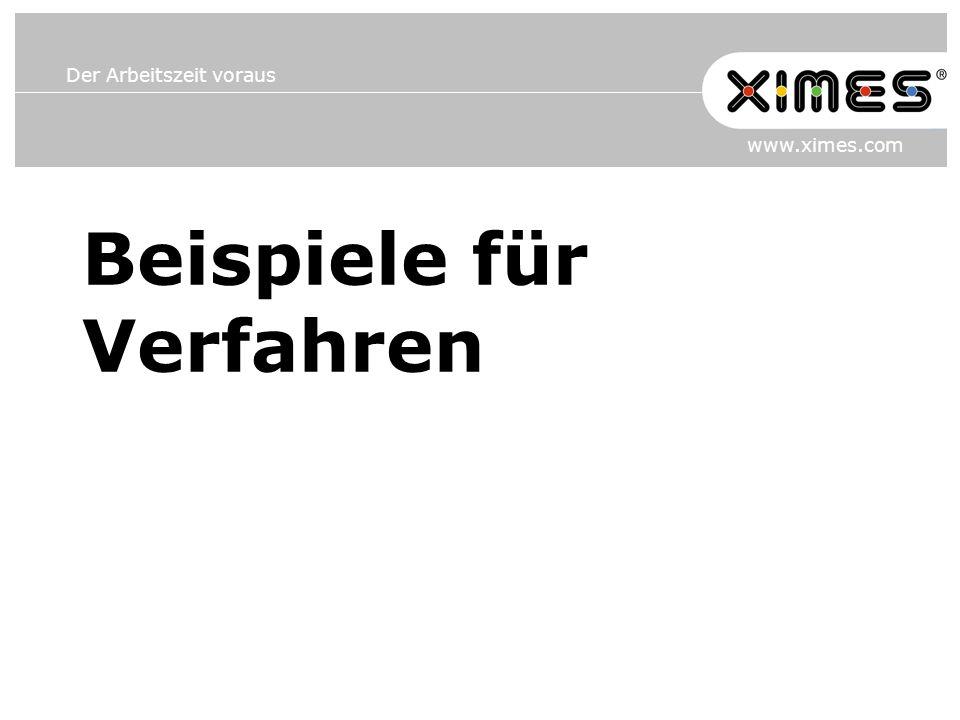 Der Arbeitszeit voraus www.ximes.com Beispiele für Verfahren