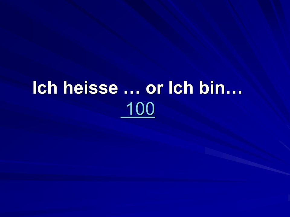 Ich heisse … or Ich bin… 100 100 100