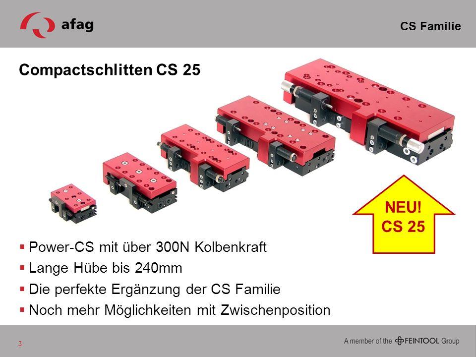 Compactschlitten CS 25 Power-CS mit über 300N Kolbenkraft Lange Hübe bis 240mm Die perfekte Ergänzung der CS Familie Noch mehr Möglichkeiten mit Zwisc