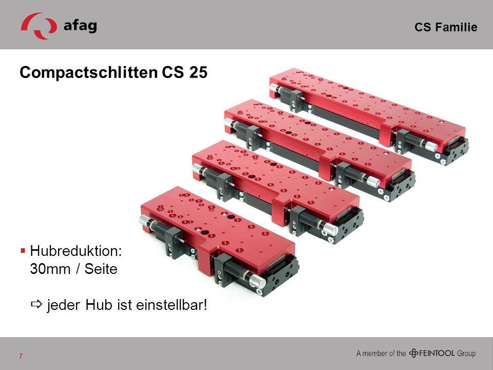 Compactschlitten CS 25 7 CS Familie Hubreduktion: 30mm / Seite jeder Hub ist einstellbar!