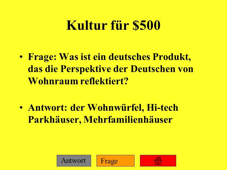 Frage Antwort Kultur für $400 Frage: Wie viele Menschen pro Quadratmeile in Deutschland? Antwort: 569 pro Quadratmeile
