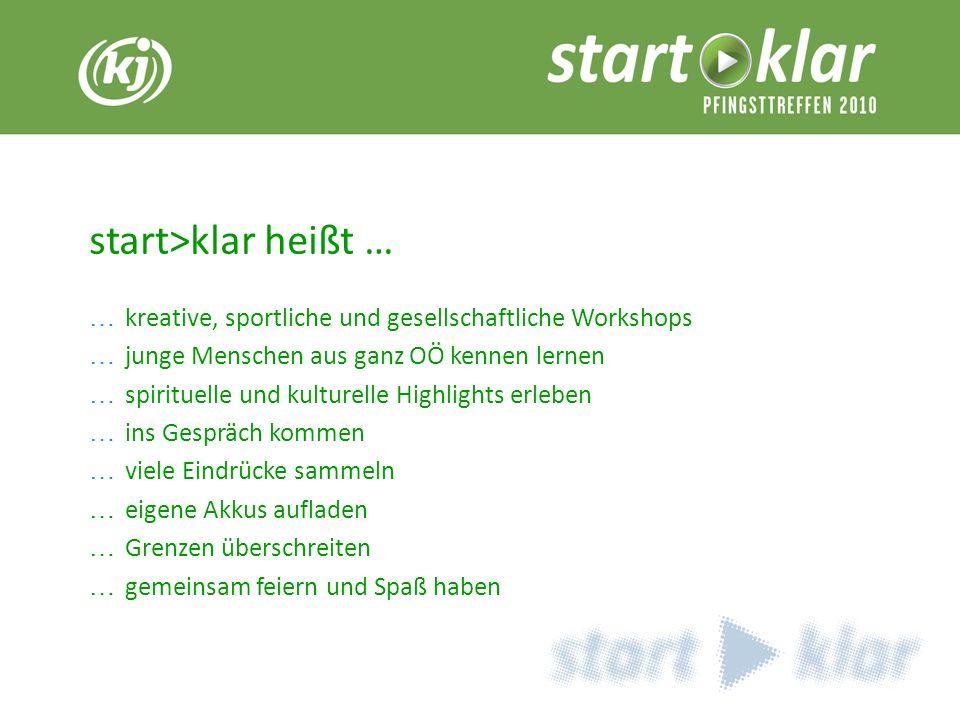 Titel 1 start>klar heißt … … kreative, sportliche und gesellschaftliche Workshops … junge Menschen aus ganz OÖ kennen lernen … spirituelle und kulture