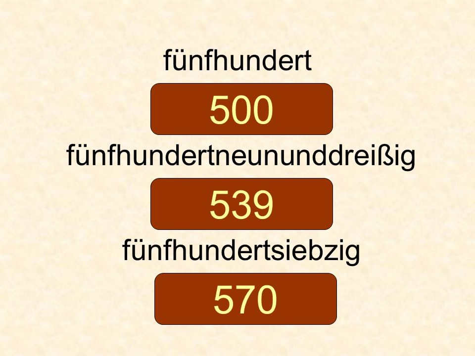 fünfhundert fünfhundertneununddreißig fünfhundertsiebzig 500 539 570