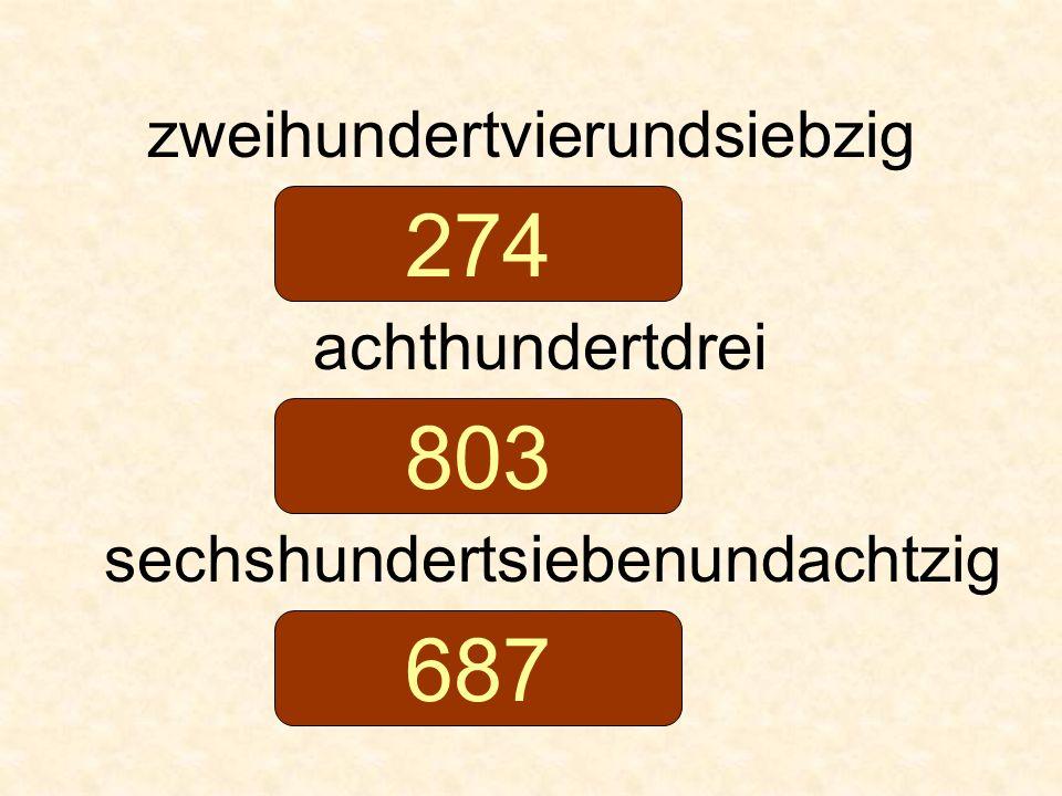zweihundertvierundsiebzig achthundertdrei sechshundertsiebenundachtzig 274 803 687