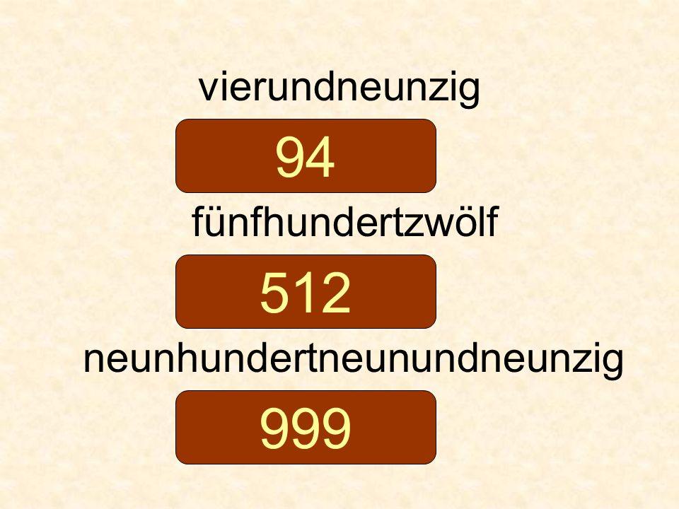 vierundneunzig fünfhundertzwölf neunhundertneunundneunzig 94 512 999