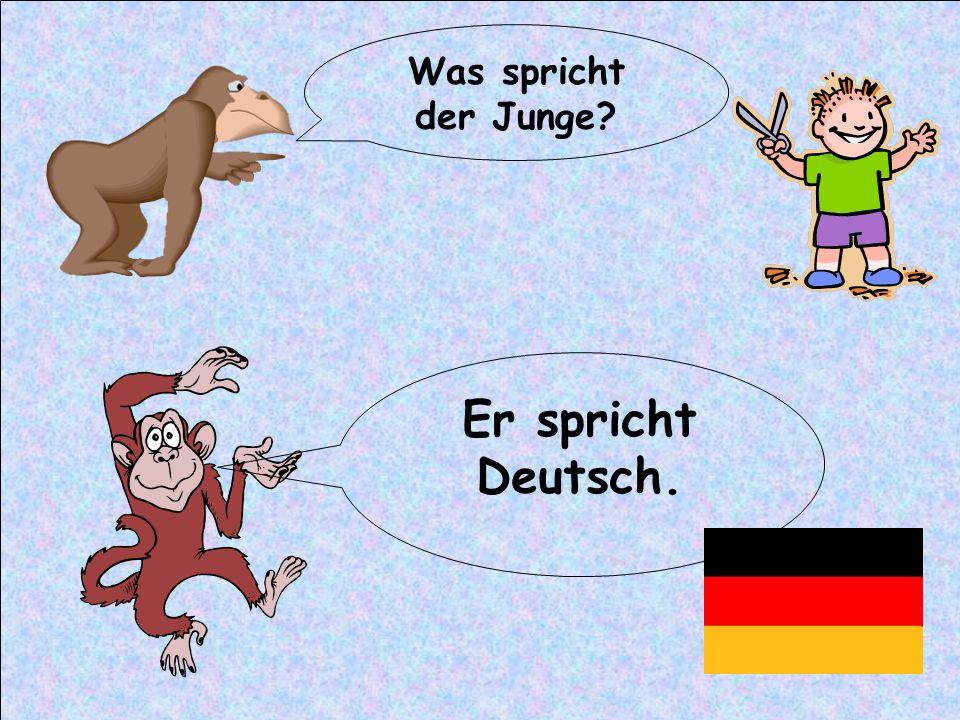 Was spricht der Junge? Er spricht Deutsch.