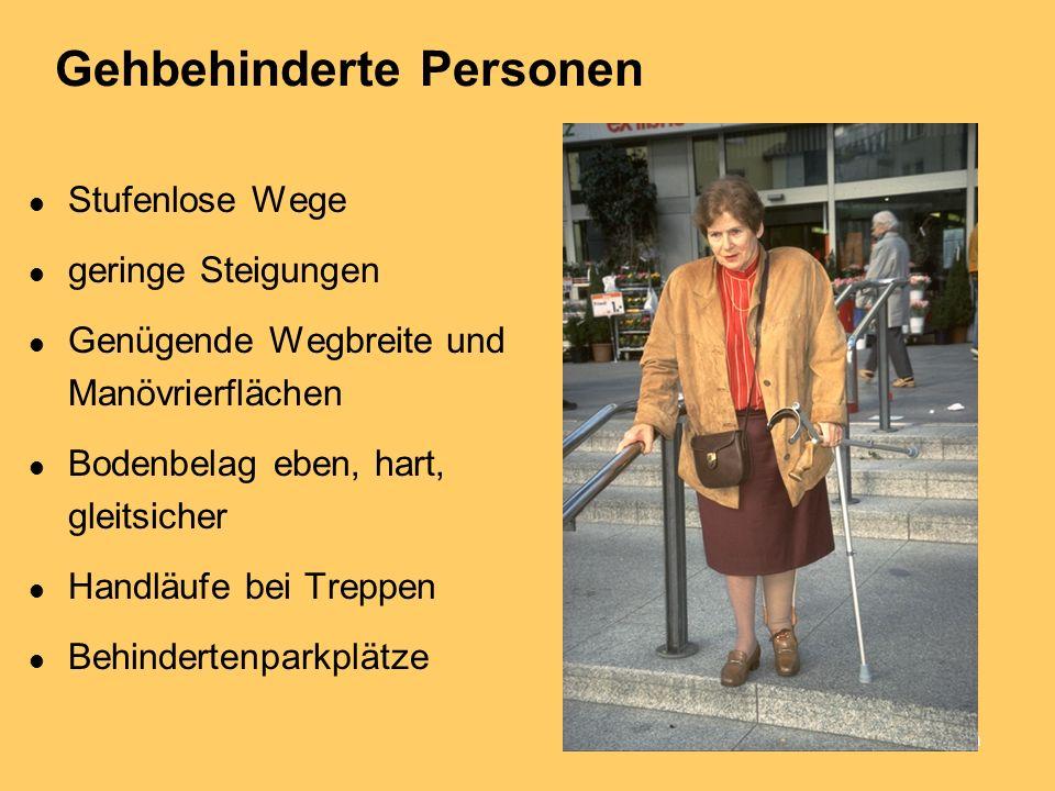 Nadja Herz, Rechtsanwältin Gehbehinderte Personen Stufenlose Wege geringe Steigungen Genügende Wegbreite und Manövrierflächen Bodenbelag eben, hart, gleitsicher Handläufe bei Treppen Behindertenparkplätze