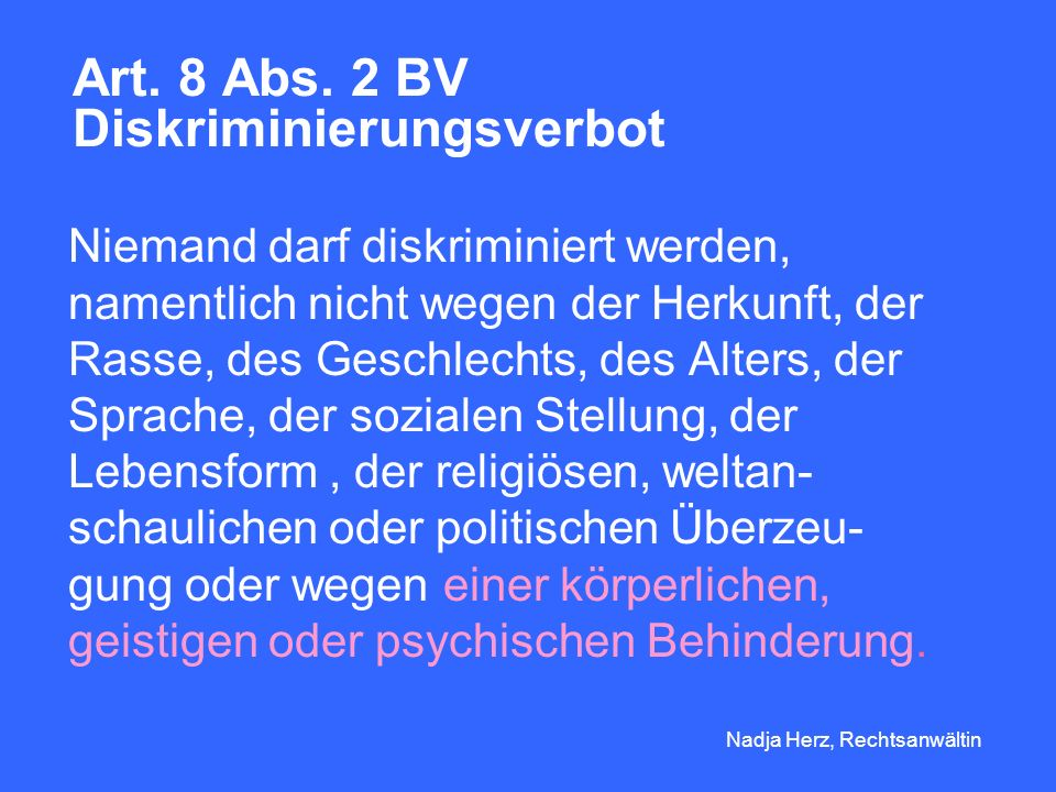 Nadja Herz, Rechtsanwältin Art.8 Abs.