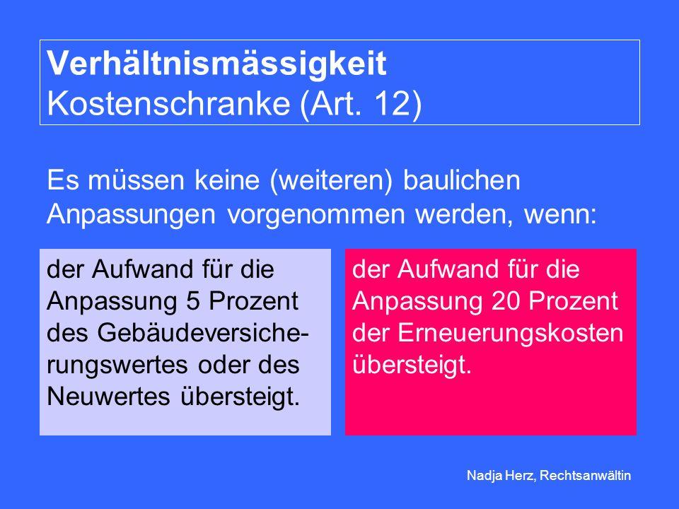 Nadja Herz, Rechtsanwältin Verhältnismässigkeit Kostenschranke (Art.