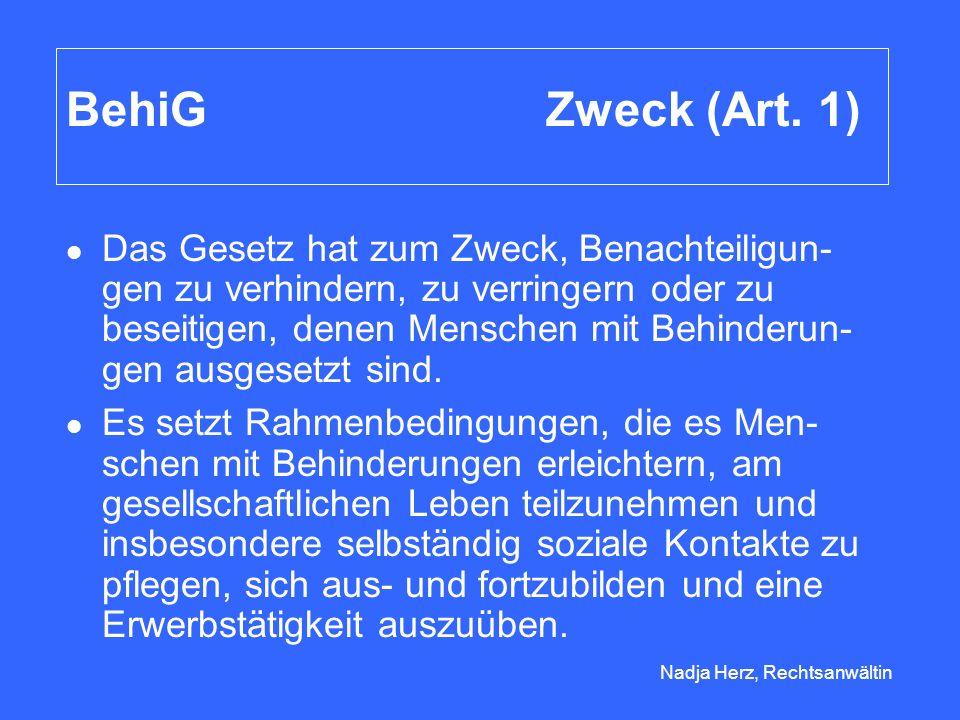 Nadja Herz, Rechtsanwältin Geltungsbereich Art der Bauten (Art.