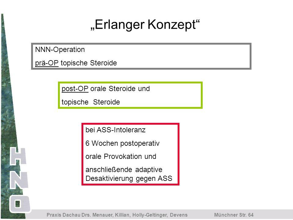 Münchner Str. 64 Praxis Dachau Drs. Menauer, Killian, Holly-Geltinger, Devens Erlanger Konzept bei ASS-Intoleranz 6 Wochen postoperativ orale Provokat