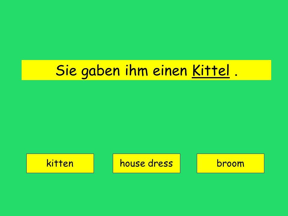 Sie gaben ihm einen Kittel. kitten house dressbroom