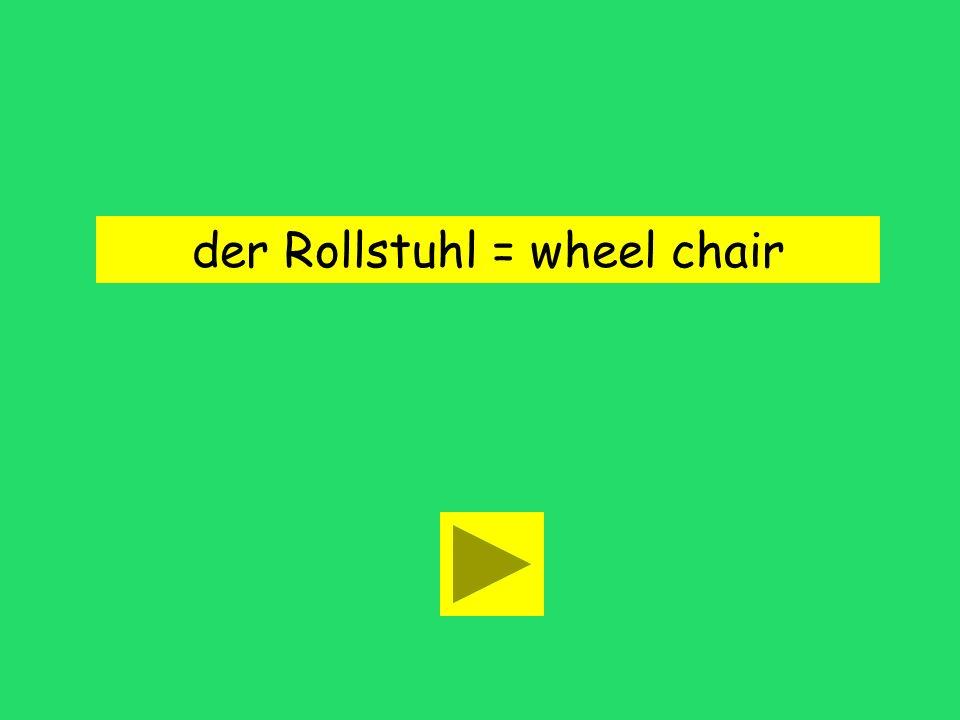 John braucht einen Rollstuhl. wheel chair roller bladehard drive