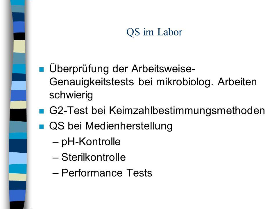 QS im Labor n Überprüfung der Arbeitsweise- Genauigkeitstests bei mikrobiolog.
