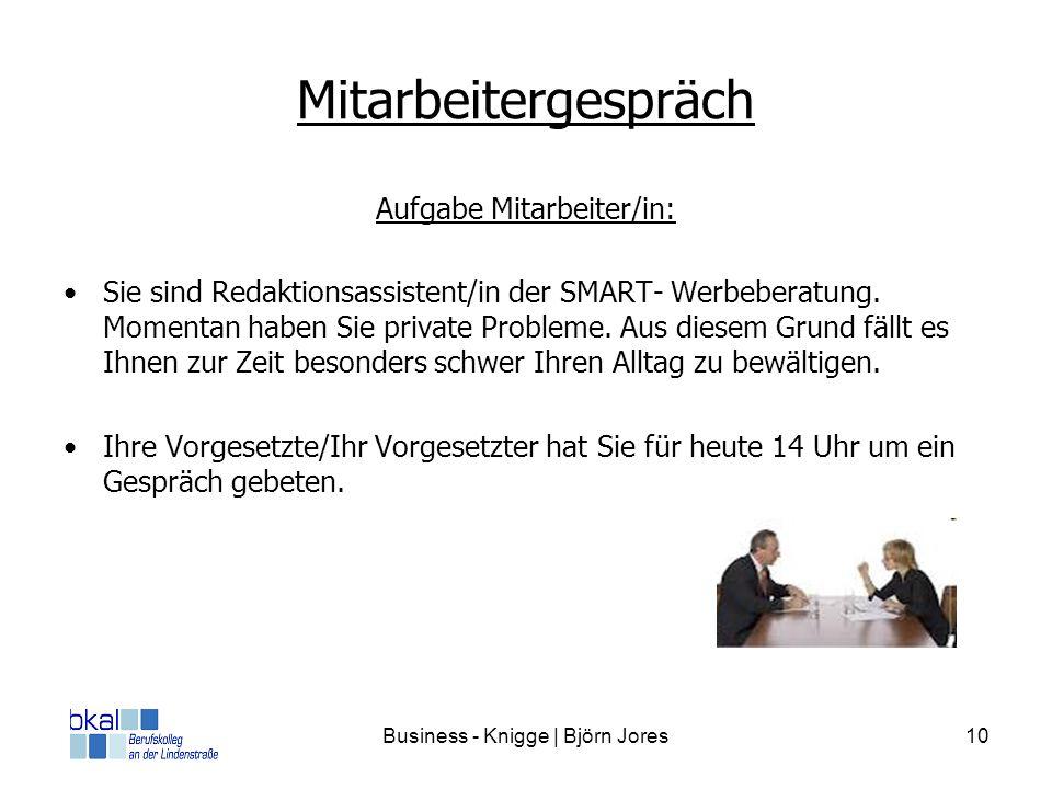 Business - Knigge | Björn Jores10 Mitarbeitergespräch Aufgabe Mitarbeiter/in: Sie sind Redaktionsassistent/in der SMART- Werbeberatung. Momentan haben