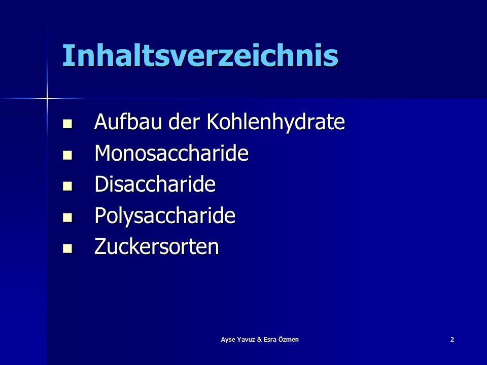 2 Inhaltsverzeichnis Aufbau der Kohlenhydrate Aufbau der Kohlenhydrate Monosaccharide Monosaccharide Disaccharide Disaccharide Polysaccharide Polysacc