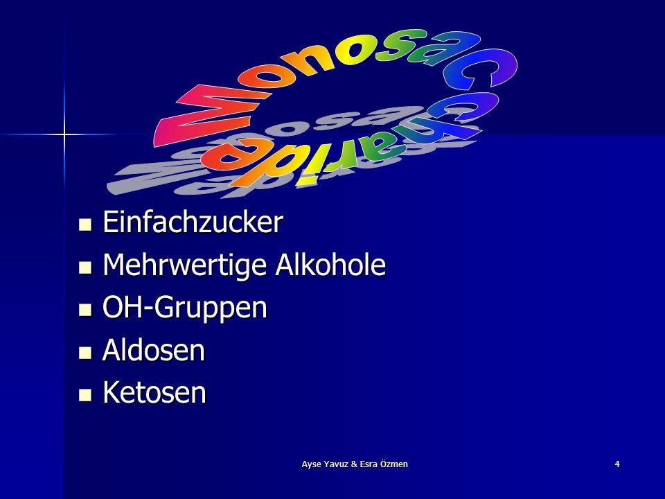 Ayse Yavuz & Esra Özmen4 Einfachzucker Mehrwertige Alkohole OH-Gruppen Aldosen Ketosen
