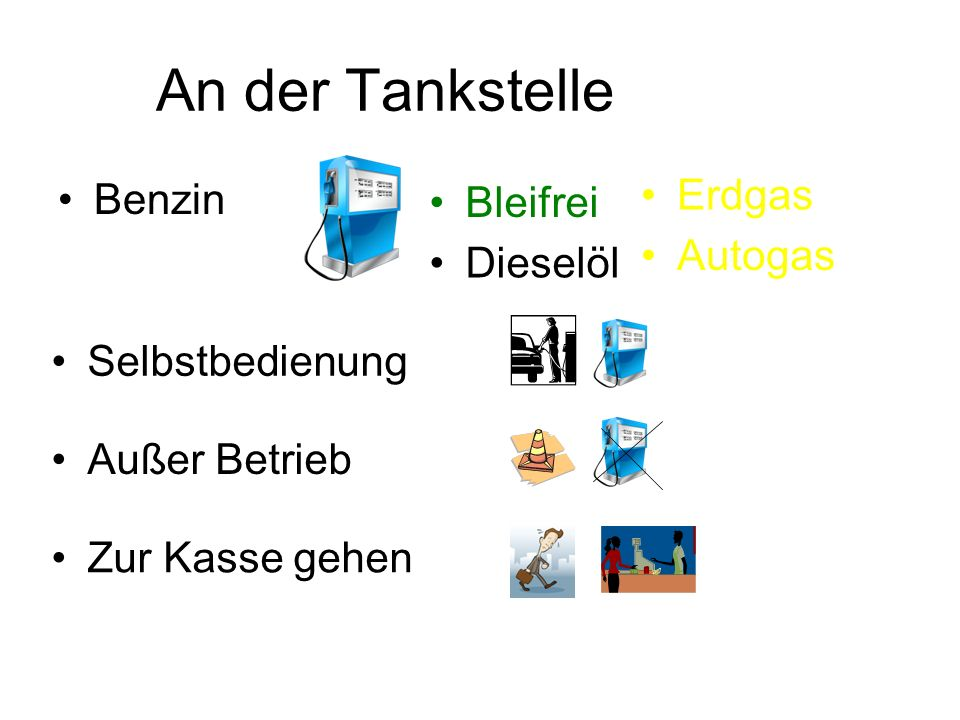 An der Tankstelle Benzin Bleifrei Dieselöl Erdgas Autogas Selbstbedienung Außer Betrieb Zur Kasse gehen