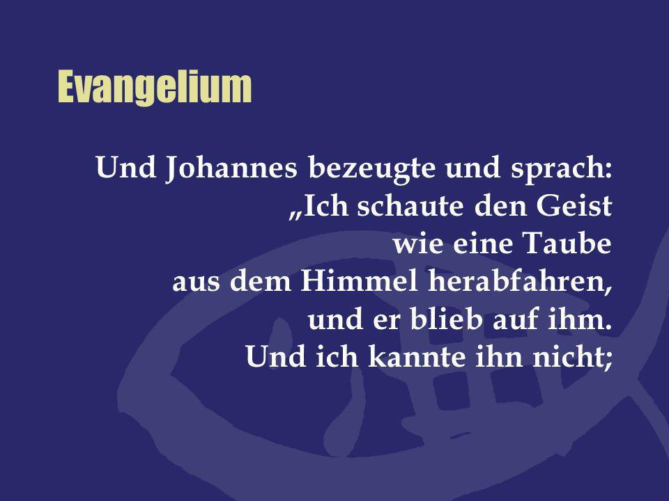 Evangelium Und Johannes bezeugte und sprach: Ich schaute den Geist wie eine Taube aus dem Himmel herabfahren, und er blieb auf ihm. Und ich kannte ihn