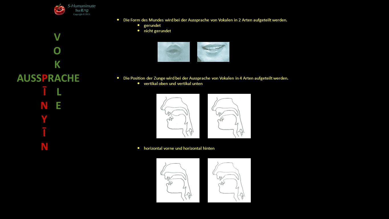 Vertikale Zungen-Position Horizontale Zungen-Position vorn Mitte hinten oben halb-oben halb-unten unten V O K AUSSPRACHE Ī L N E Y Ī N Aussprache der Vokale bezogen auf Mund-Form und Zungen-Position i ü e er a u o