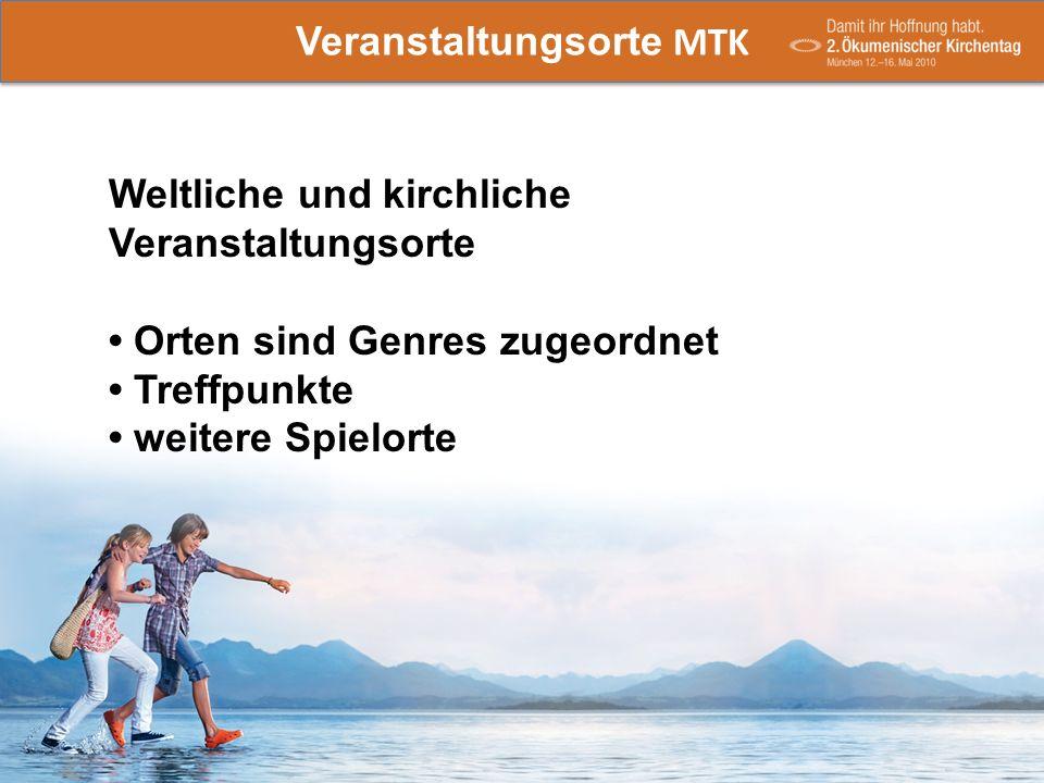 Veranstaltungsorte MTK -Weltliche und kirchliche Veranstaltungsorte (Genres zugeordnet) Treffpunkte weitere Spielorte Veranstaltungsorte MTK Weltliche