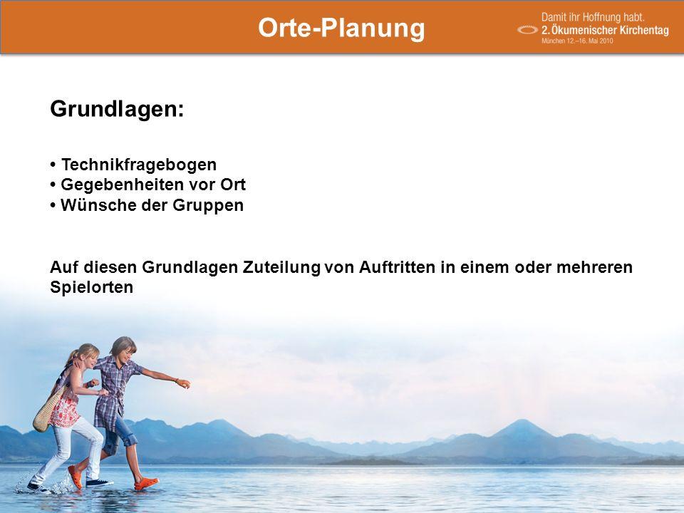 Orte-Planung Grundlagen: Technikfragebogen Gegebenheiten vor Ort Wünsche/Einschränkungen der Gruppen Orte-Planung Grundlagen: Technikfragebogen Gegebe
