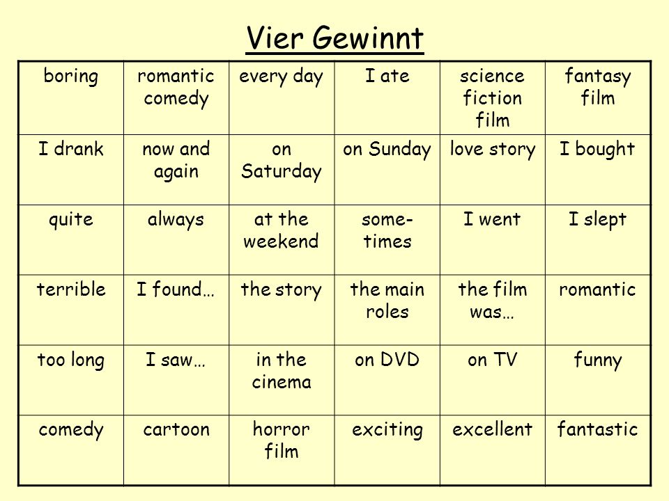 Vier Gewinnt boringromantic comedy every dayI atescience fiction film fantasy film I dranknow and again on Saturday on Sundaylove storyI bought quitea